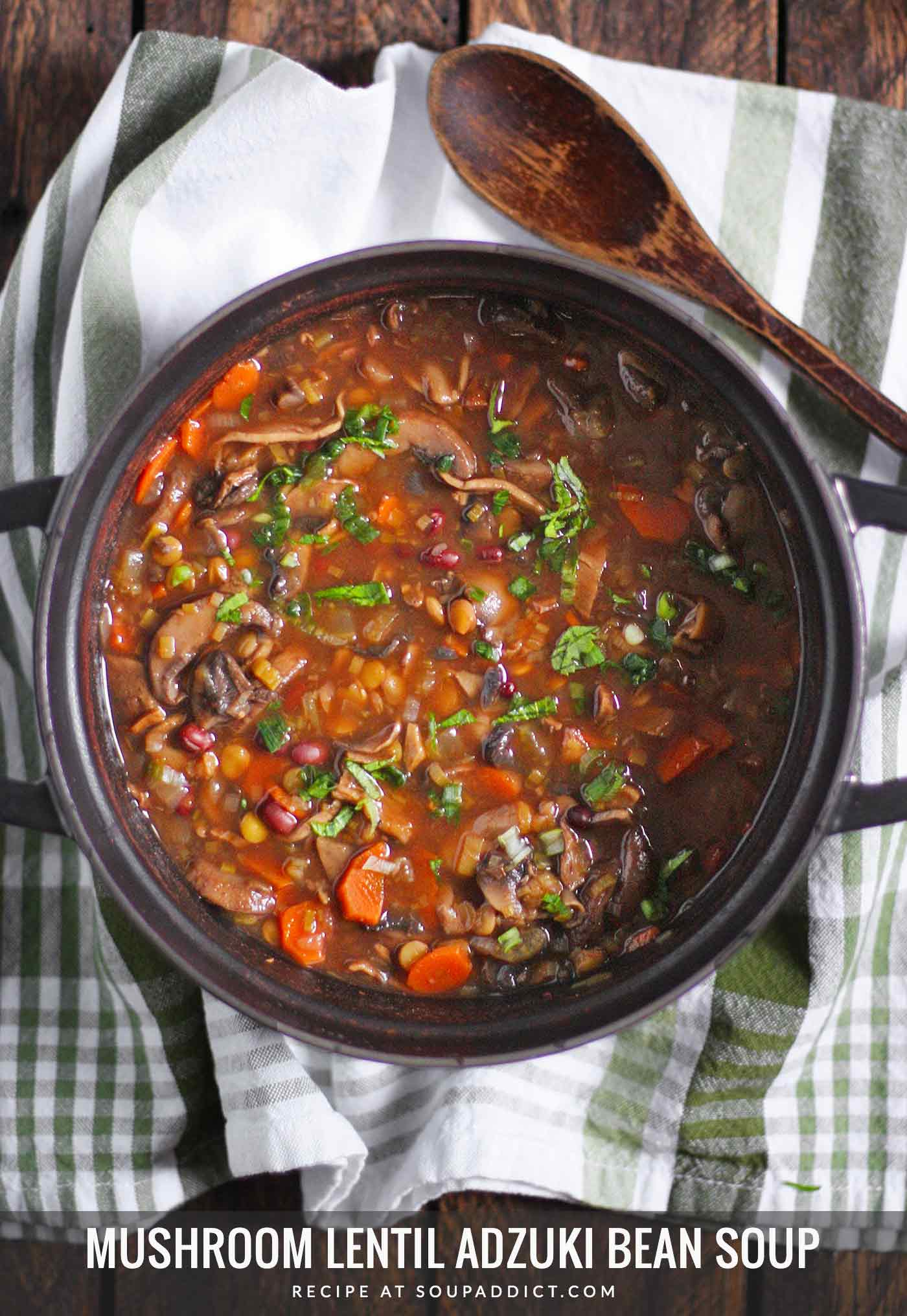 Mushroom Lentil Adzuki Bean Soup in a black Dutch oven with a serving spoon
