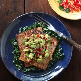 Pan Seared Tofu with Avocado Pomegranate Salsa