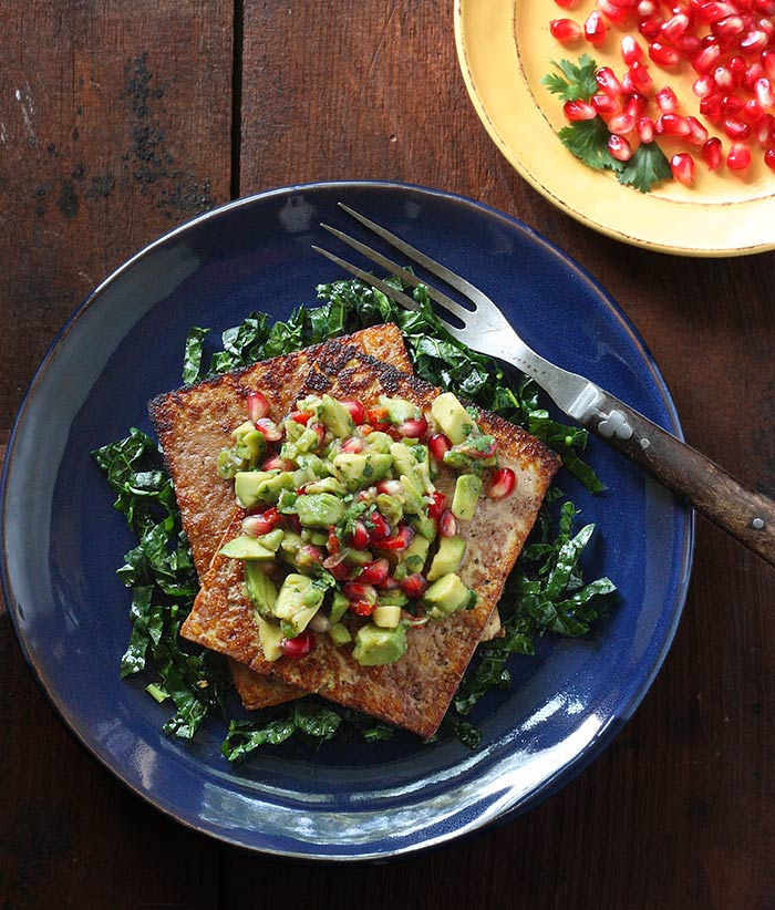 Skillet Roasted Salmon With Avocado Pomegranate And: Pan Seared Tofu With Avocado Pomegranate Salsa