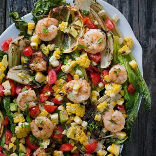 Grilled Romaine Salad with Shrimp