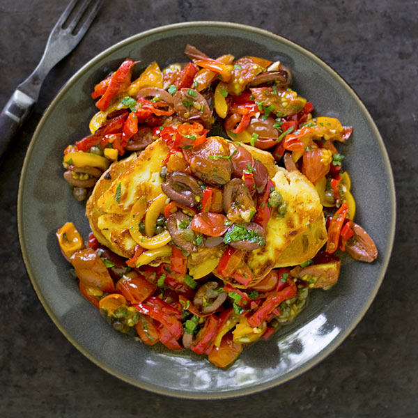Seared Peppers with Olives and Halloumi