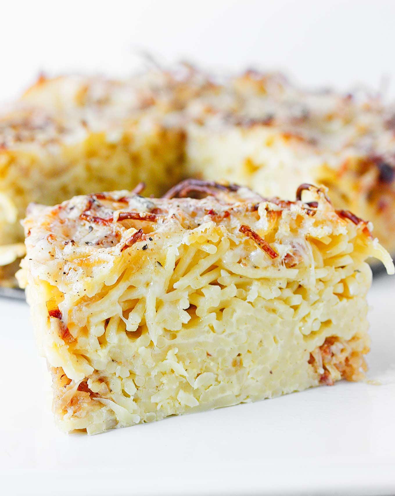 Caramelized Onion Spaghetti Pie | SoupAddict.com