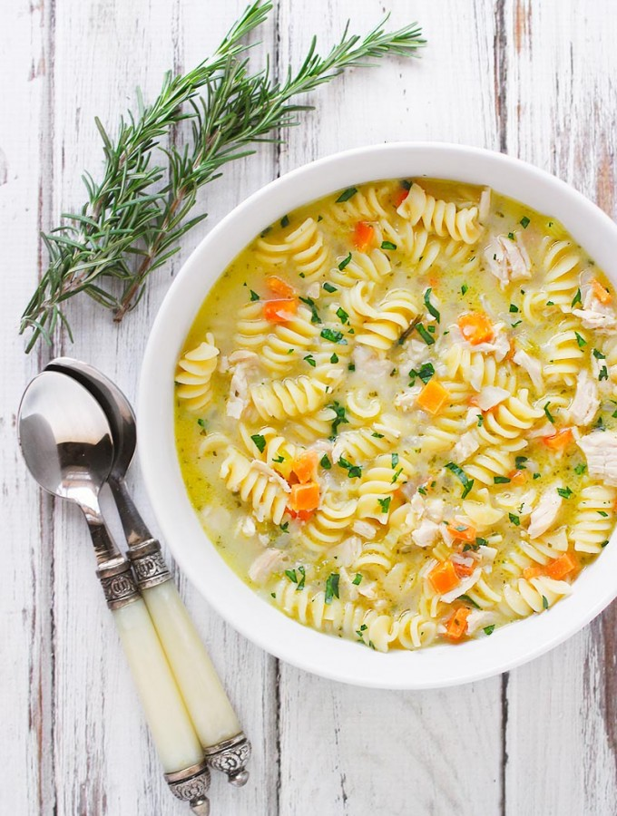 Preserved Lemon Chicken Soup with Rosemary | SoupAddict.com