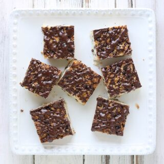 Chocolate Chip Shortbread Bars with Kahlua Glaze | SoupAddict.com