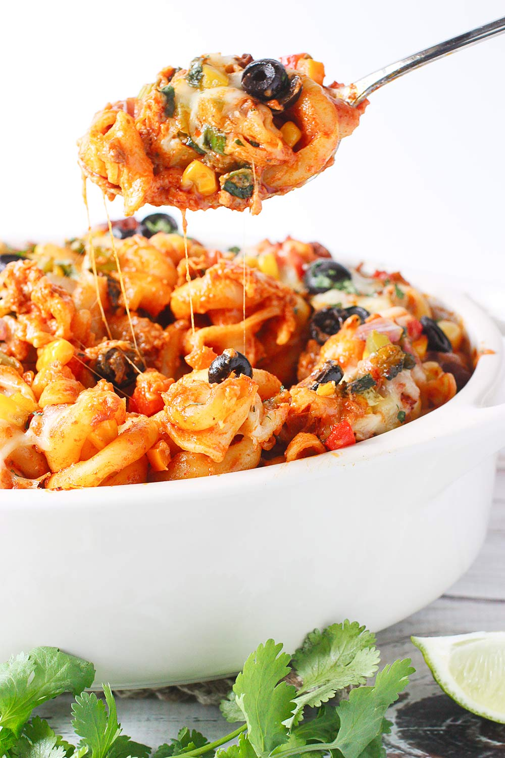 A spoonful of Mexican Pasta Bake
