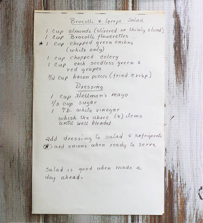 Photo of a handwritten recipe for broccoli grape salad