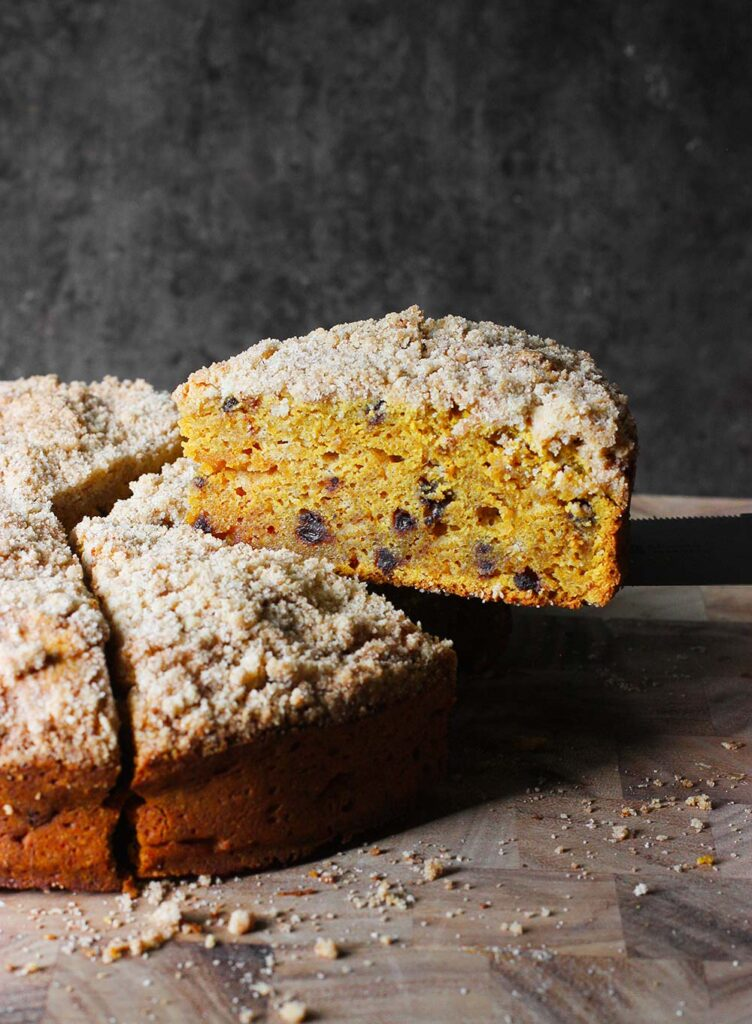 Pumpkin Spice Crumb Cake with Chocolate Chips | SoupAddict.com