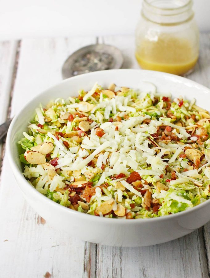 Everyone will love this winter salad! Raw Brussels sprouts are fabulous: milder than most cabbages, crunchy, and ever-so-slightly sweet. Add apples, fennel, bacon, Pecorino, and a tasty apple cider vinaigrette, and you've got one amazing Brussels Sprouts Salad! Get the recipe at SoupAddict.com