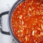 Seasoned with the classic Moroccan spice ras el hanout and plenty of preserved lemons, and one of my favorite new condiments, caramelized tomatoes and onions, Moroccan Chicken Soup is a unique and tasty warming soup. Get the recipe at SoupAddict.com