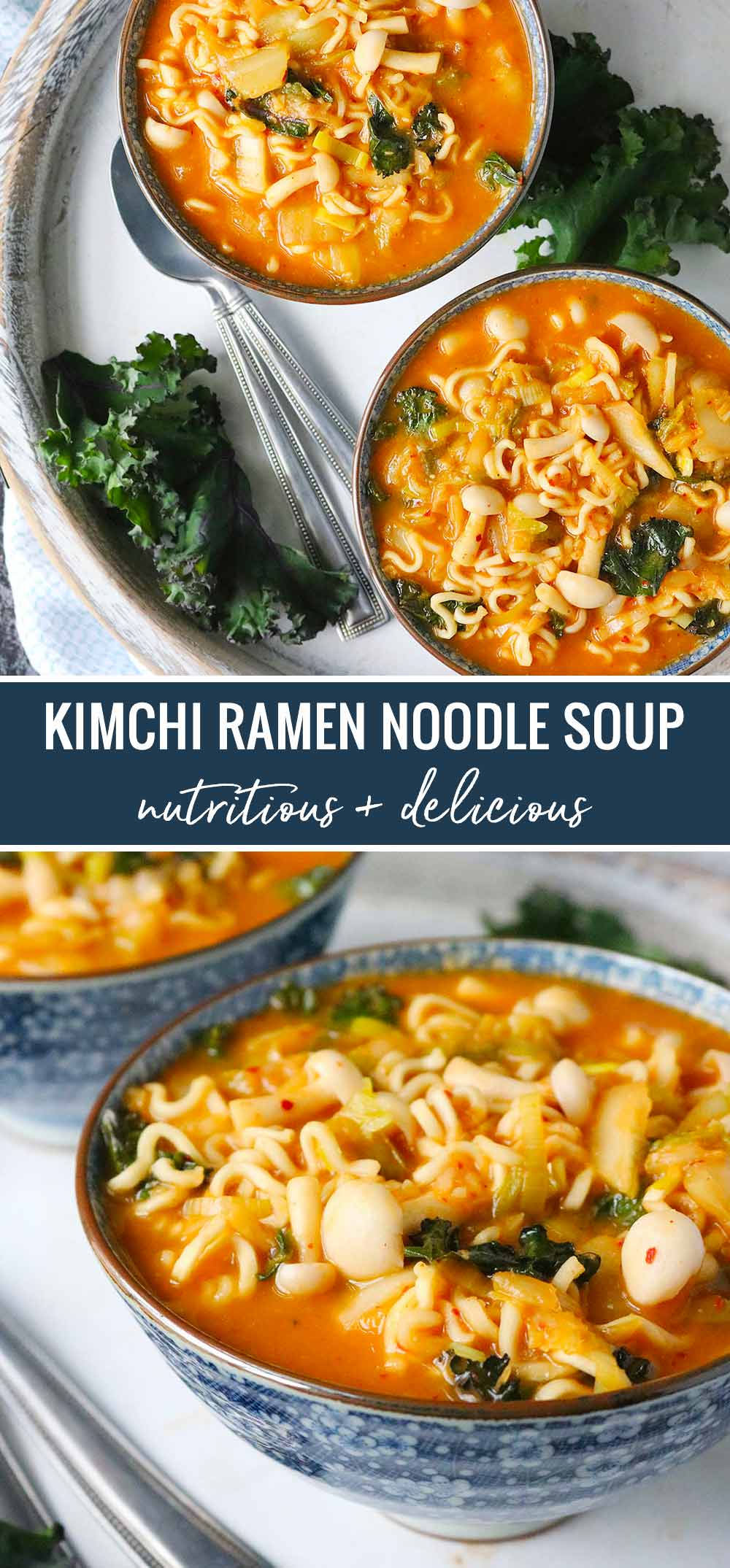 Kimchi Ramen Noodle Soup image for pinning