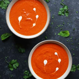 Sheet Pan Roasted Red Pepper Tomato Soup from SoupAddict.com