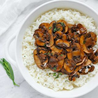 Balsamic Mushrooms with Tarragon Rice