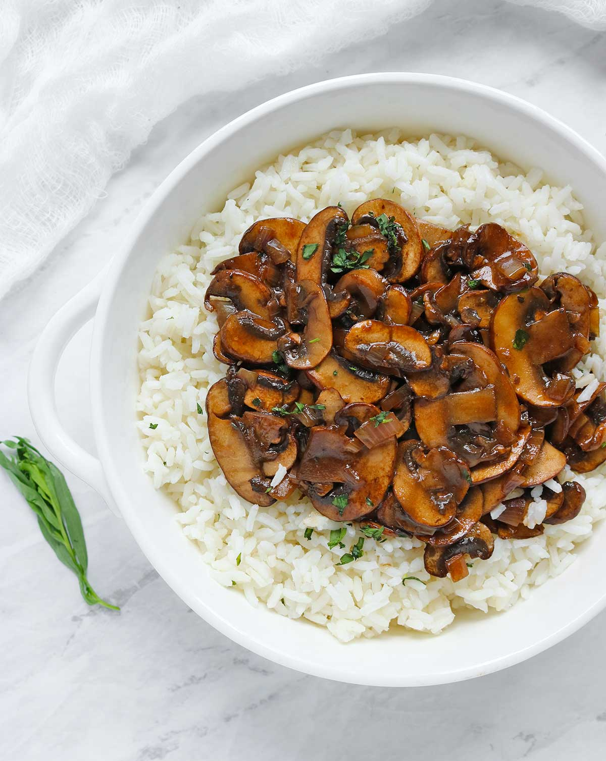 Balsamic Mushrooms with Tarragon Rice | Recipe at SoupAddict.com