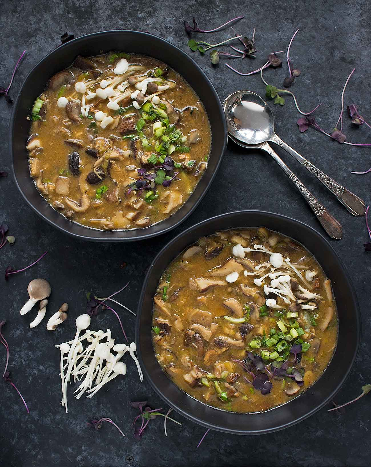 Two bowls of wild mushroom miso soup.