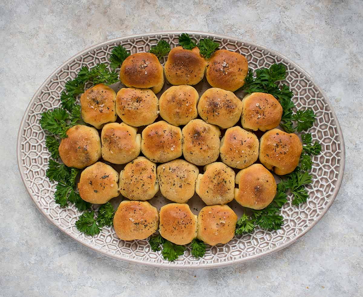Party platter of two-bite hanky pankies pull-aparts