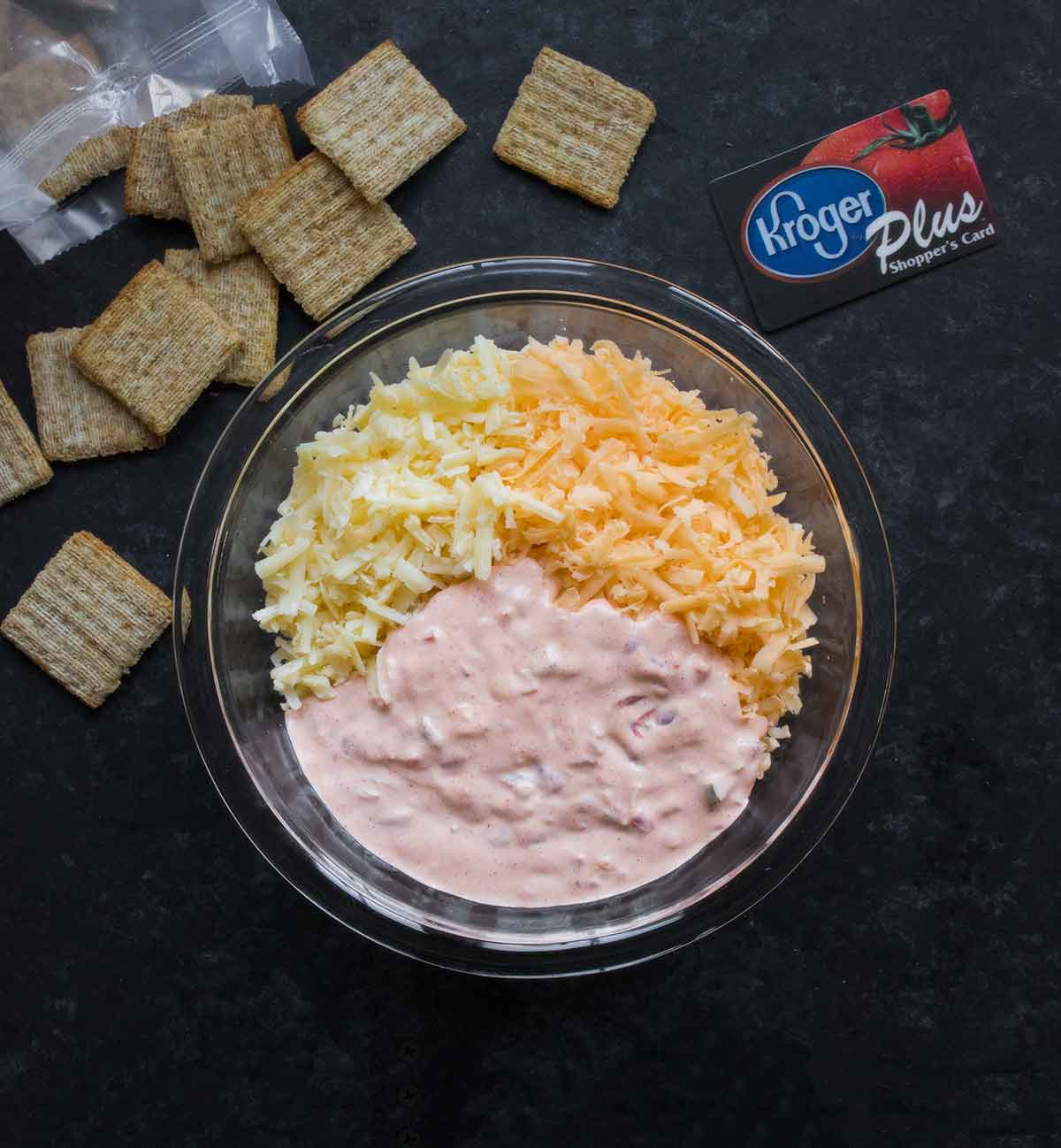 Cheeses and sauce for Spicy Pimento Cheese