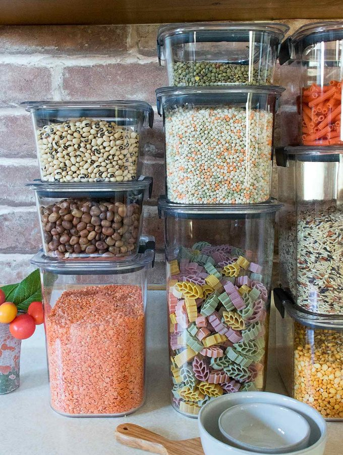Dried goods in containers.