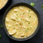 Creamy white bean tortellini soup in a bowl