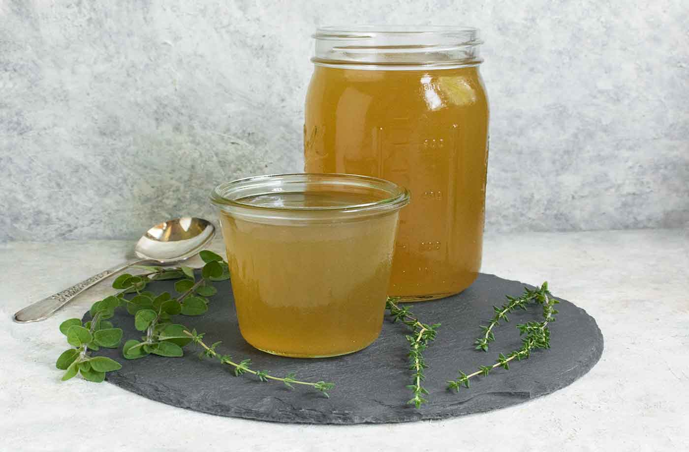 Instant Pot Smoked Corn Stock in jars