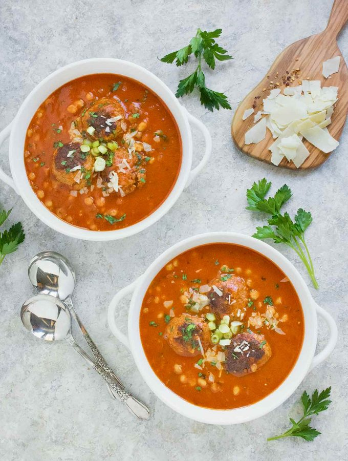 Two bowls of Instant Pot Italian Meatball Soup with Fregola Pastas