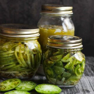 Jars of green tomato pickles