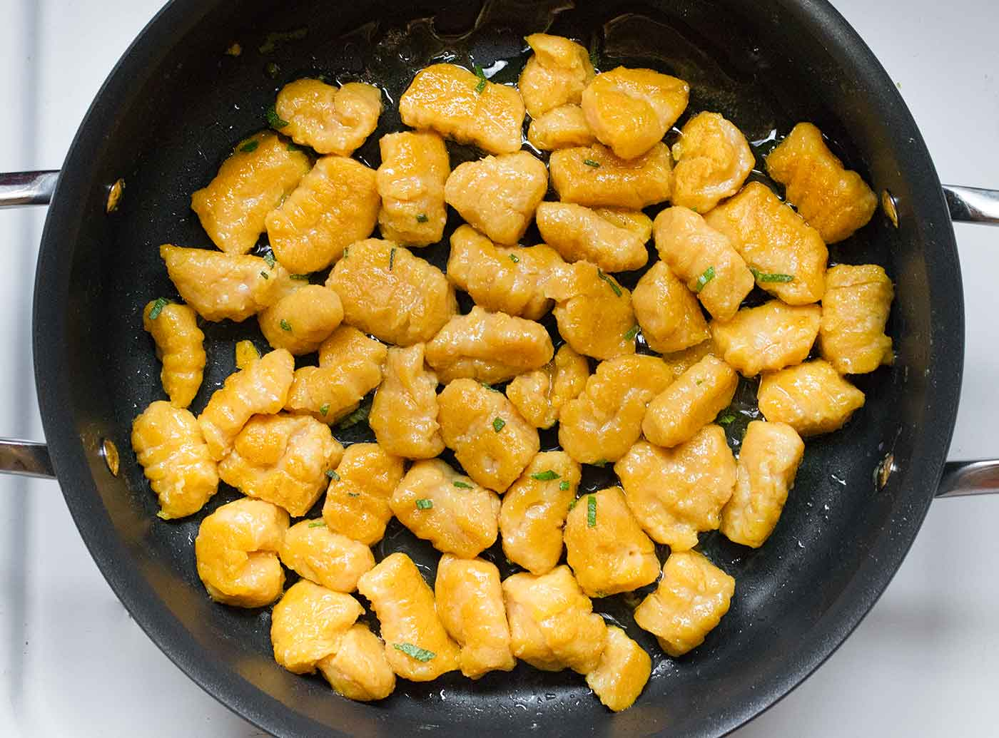 Pan-fried pumpkin gnocchi for creamy pumpkin soup