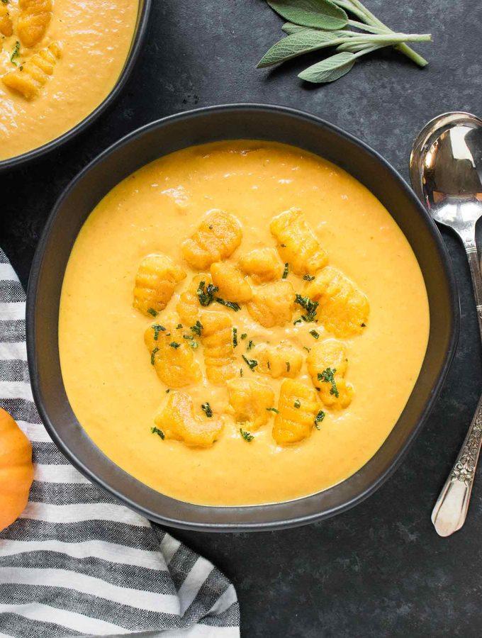 Bowl of Creamy Pumpkin Soup