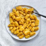 Pumpkin Gnocchi on a plate, ready to serve