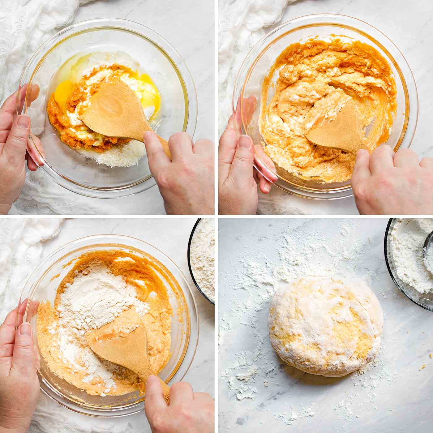 Mixing up the pumpkin gnocchi dough