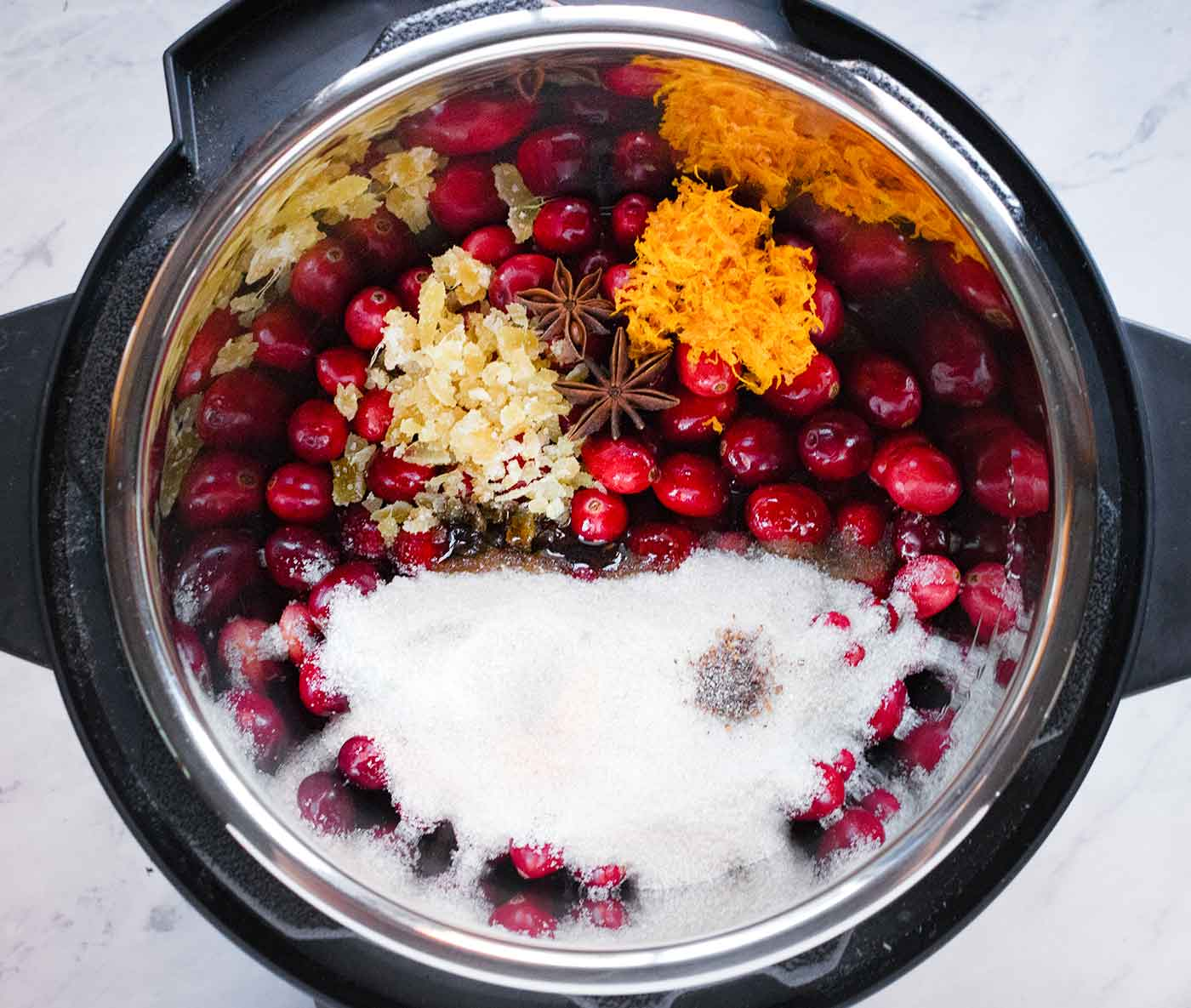 Ingredients for Instant Pot Spiced Cranberry Sauce, ready to pressure cook