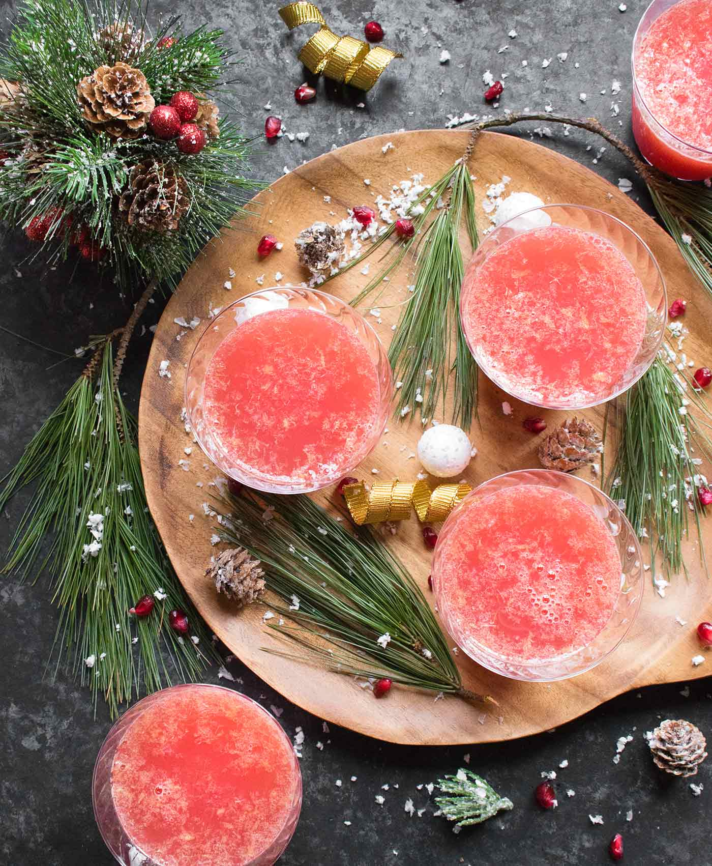 Holiday Party Punch in cups on a serving tray
