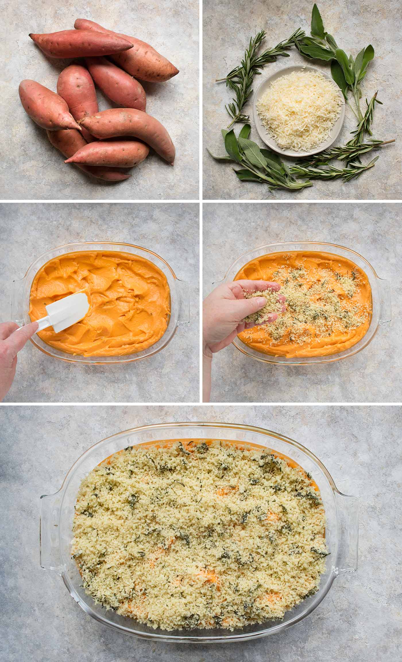Steps for making Savory Sweet Potato Casserole
