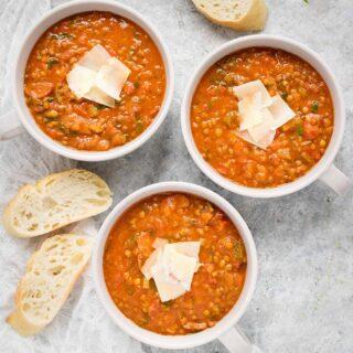 Three bowls of Creole Lentil Soup