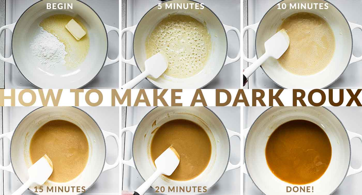 Steps for making a dark roux for gumbo