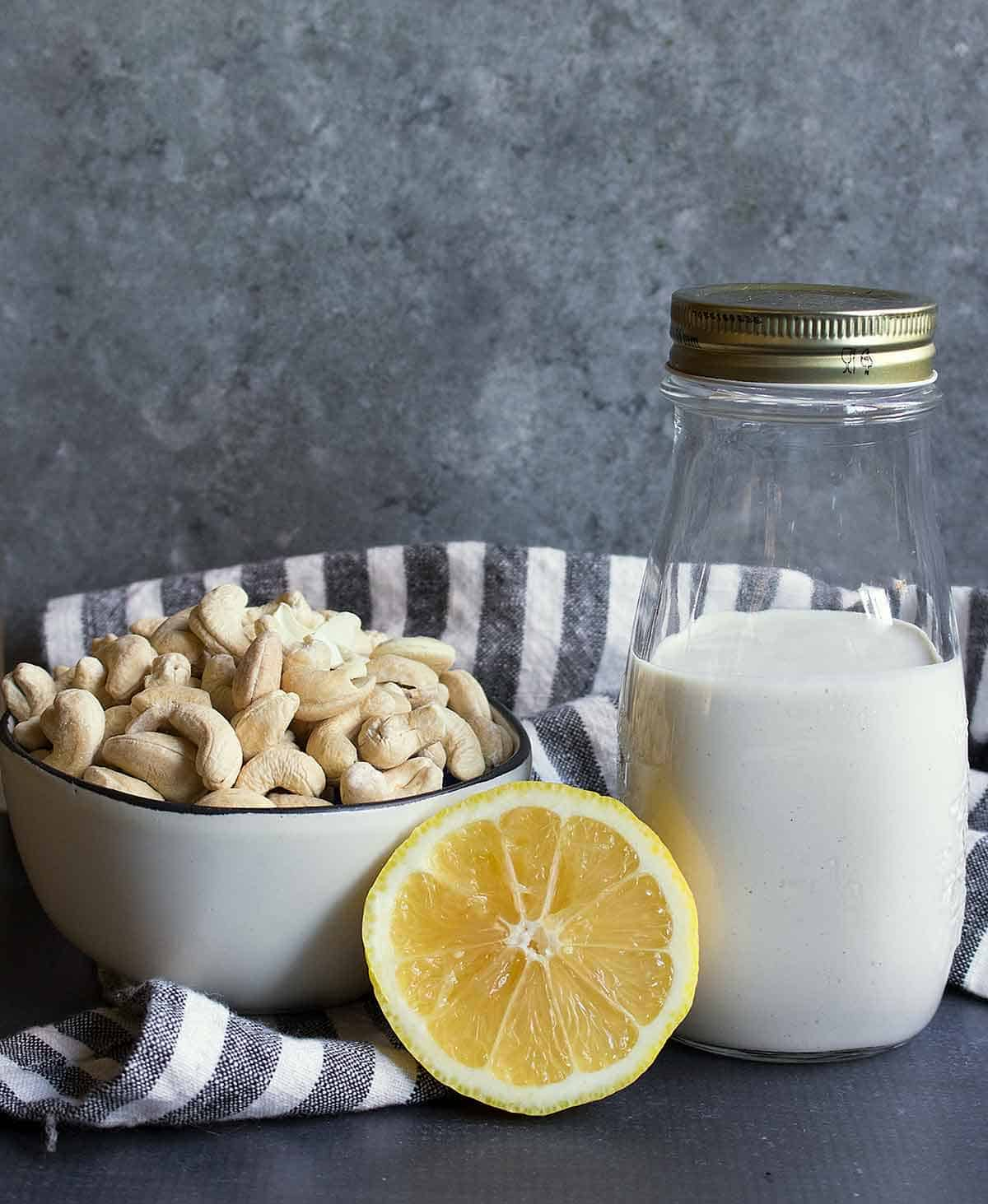 Vegan Buttermilk and its ingredients, cashews and lemon