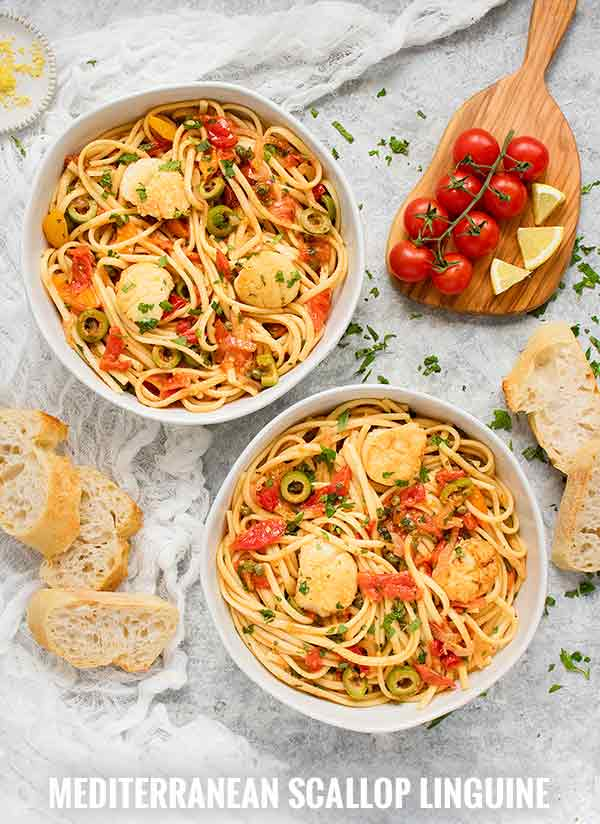 Mediterranean Scallop Linguine - Recipe at SoupAddict.com