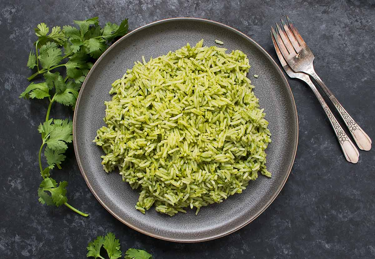 Spicy Green Rice on a gray plate