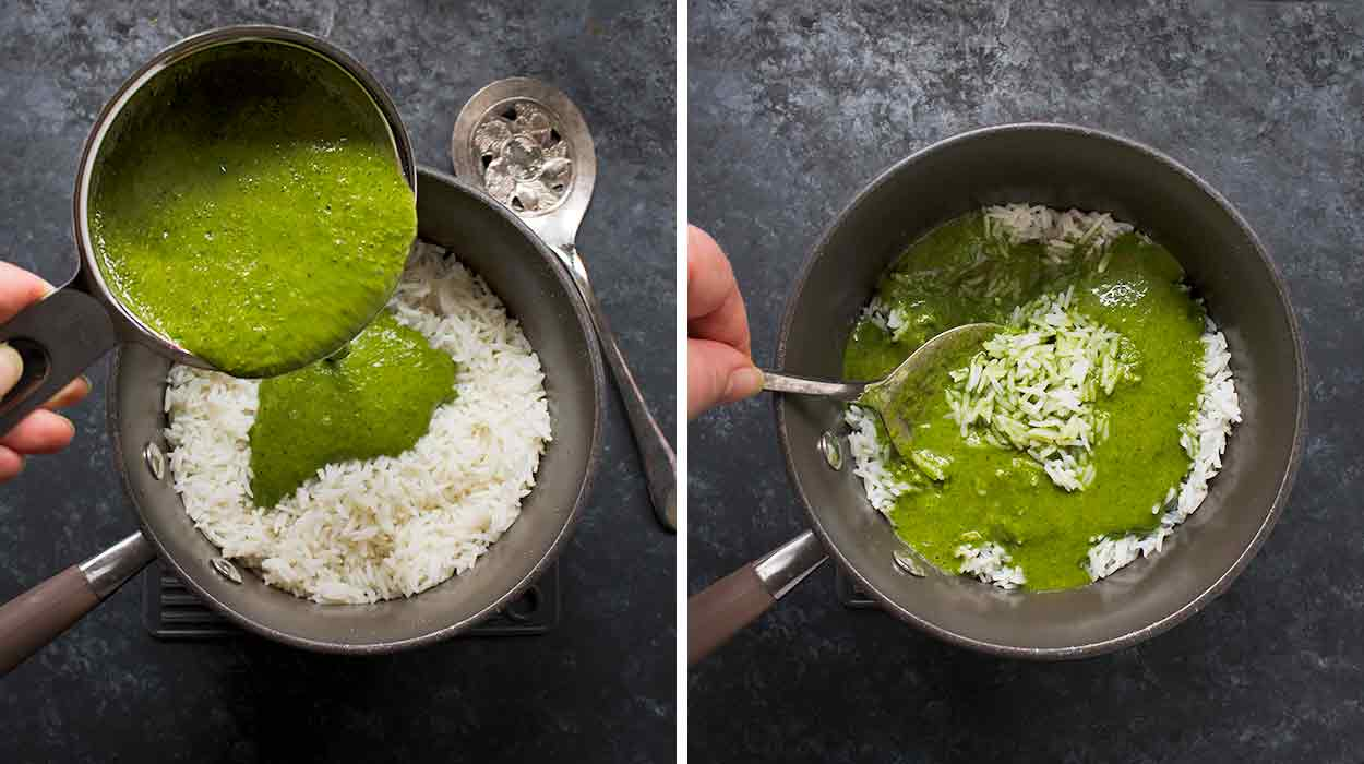 Stirring the spicy green sauce into the rice