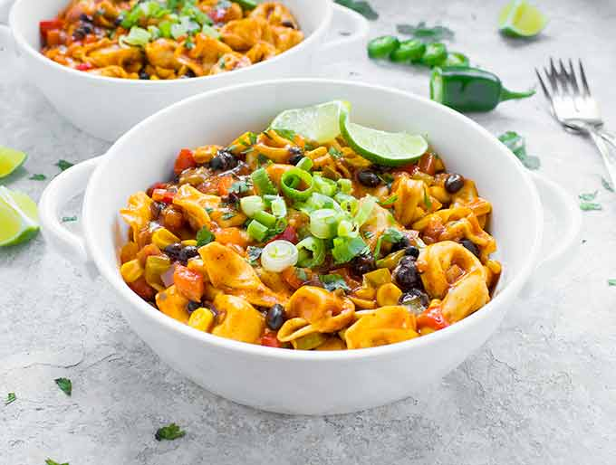 Tex-Mex Tortellini in a white bowl