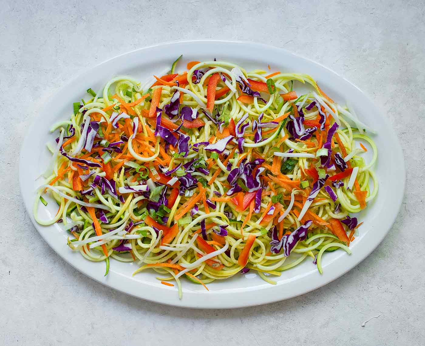 A platter of spiralized veggies for Rainbow Pad Thai
