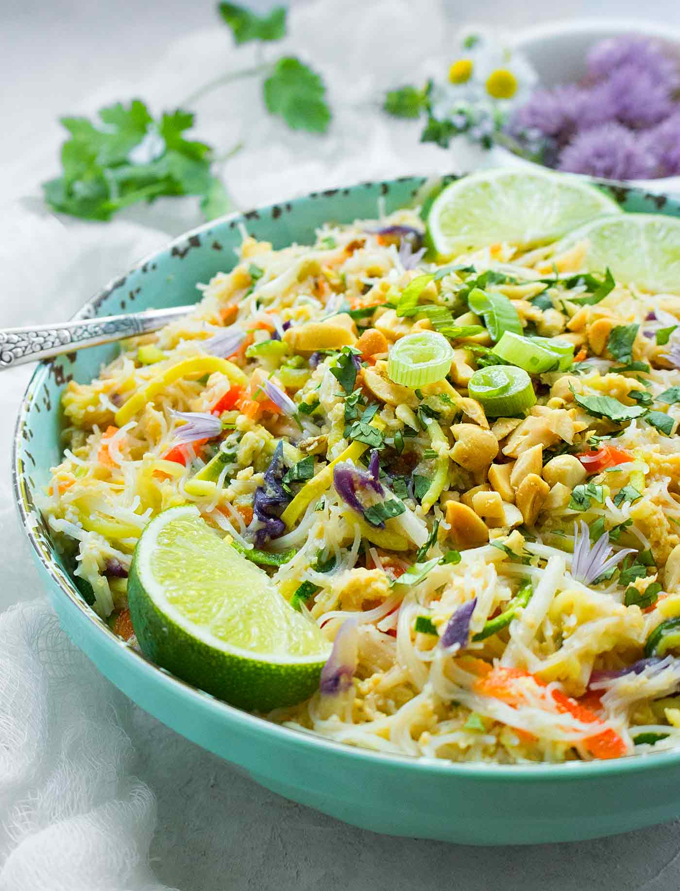 Close up of a bowl of Rainbow Vegetarian Pad Thai