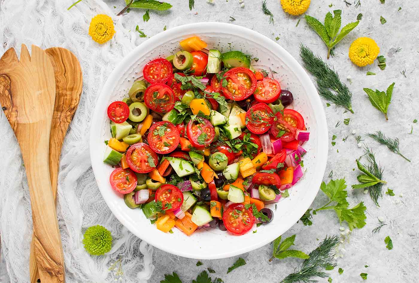 Mediterranean Chopped Salad in a white bowl