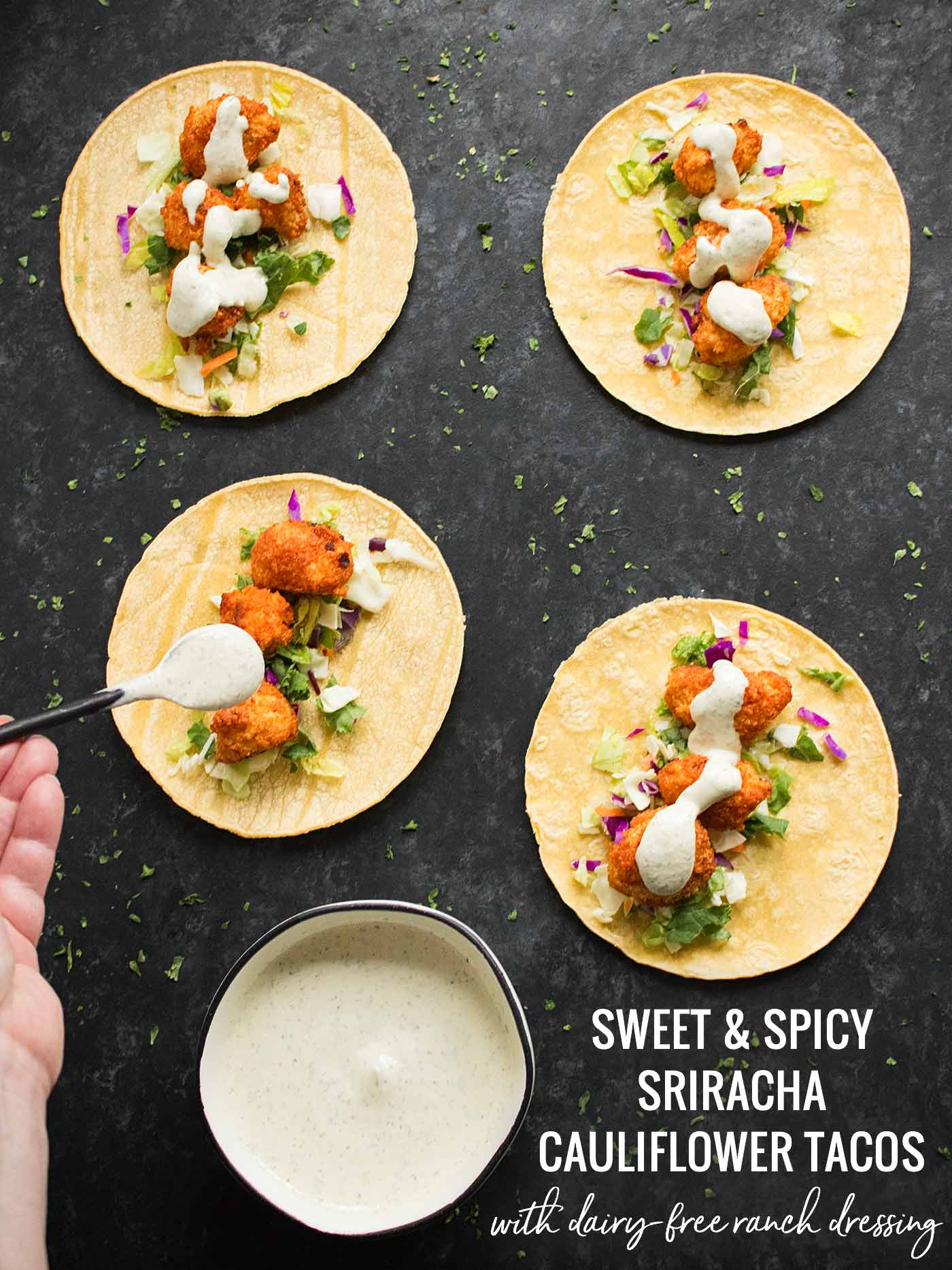 Sweet & Spicy Cauliflower Tacos - Recipe at SoupAddict.com
