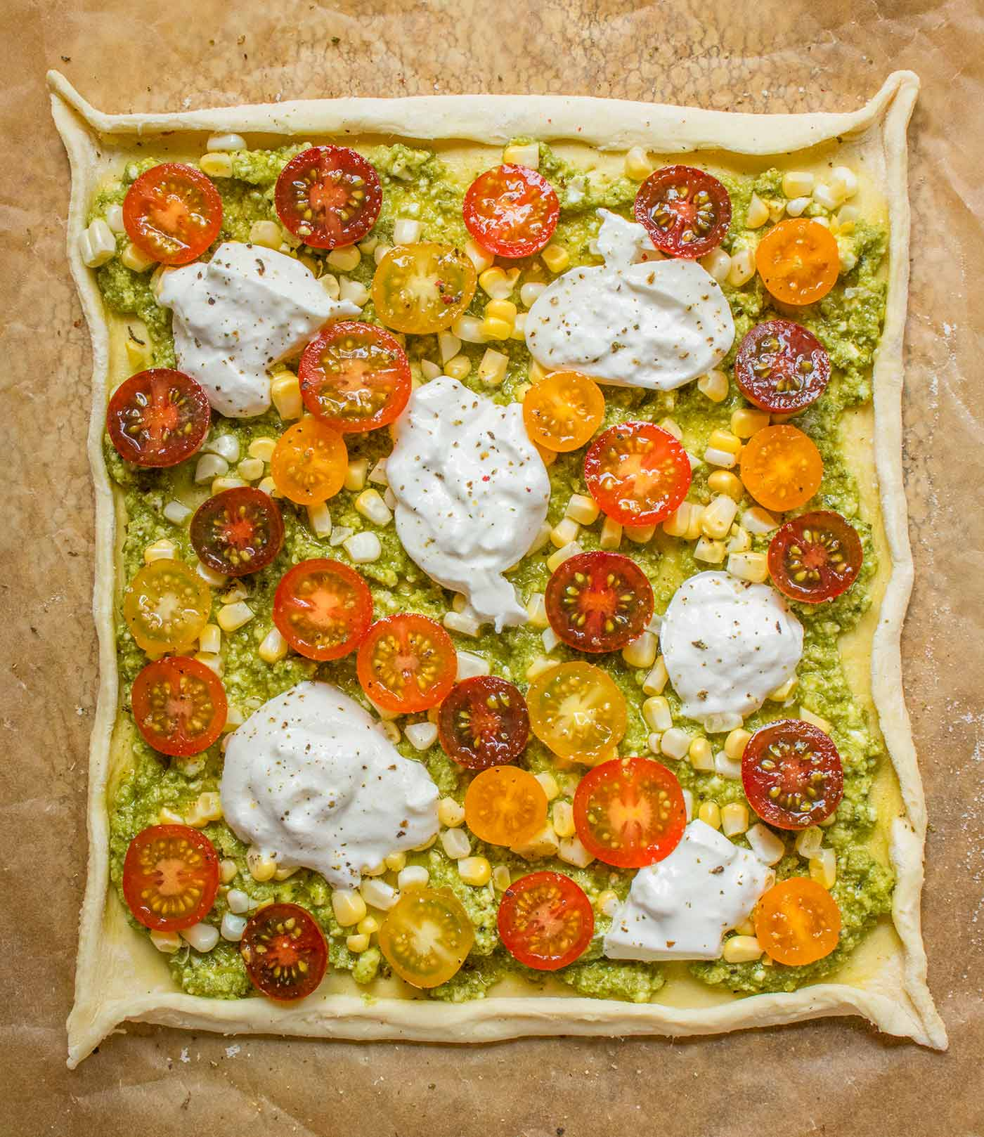 The assembled Puff Pastry Tomato Tart, ready to bake