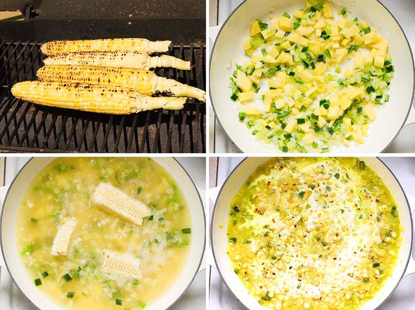 Step by step photos for making Mexican Street Corn Soup