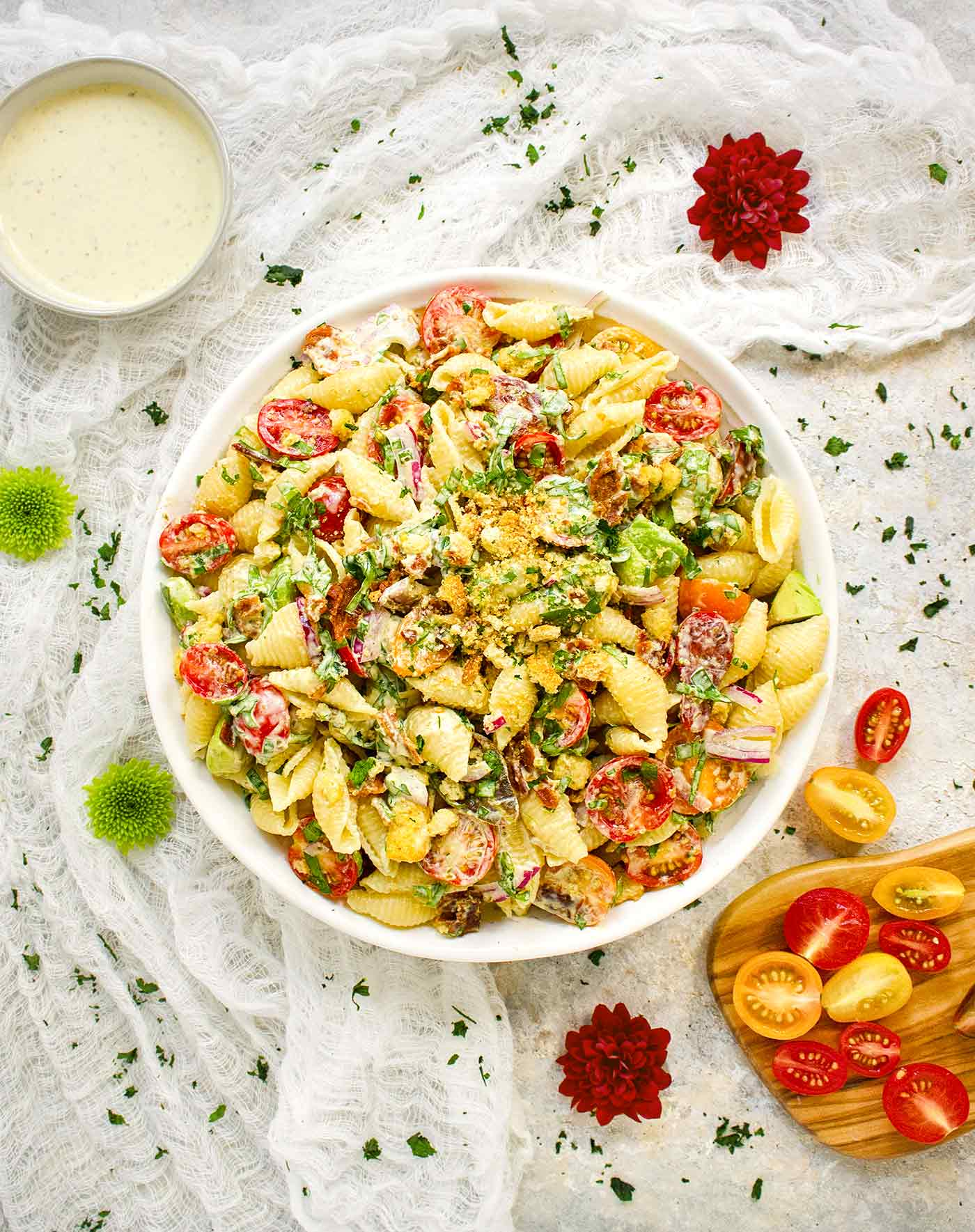 BLT Pasta Salad in a big white bowl