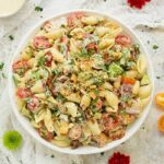 BLT Pasta Salad with a creamy pesto dressing