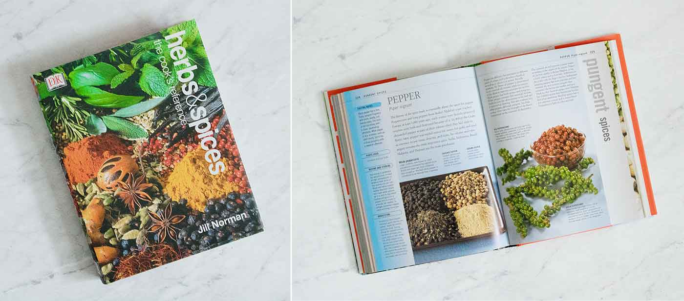 Photo of the book Herbs & Spices, cover and inside page