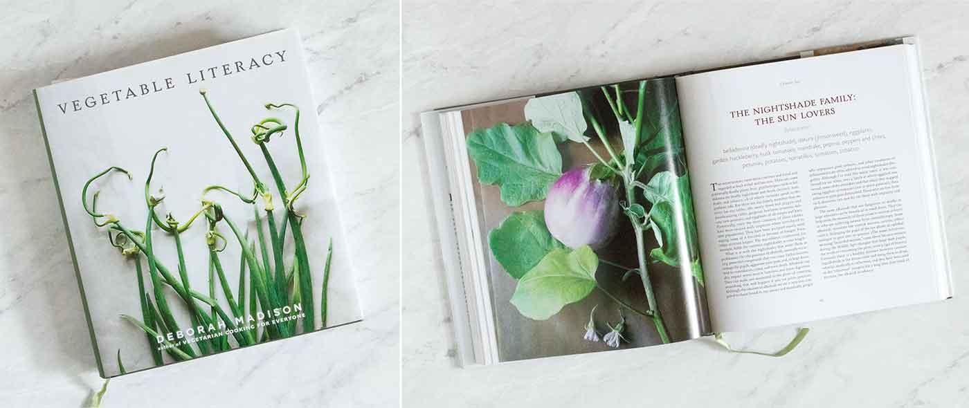 Photo of the book Vegetable Literacy, cover and inside page