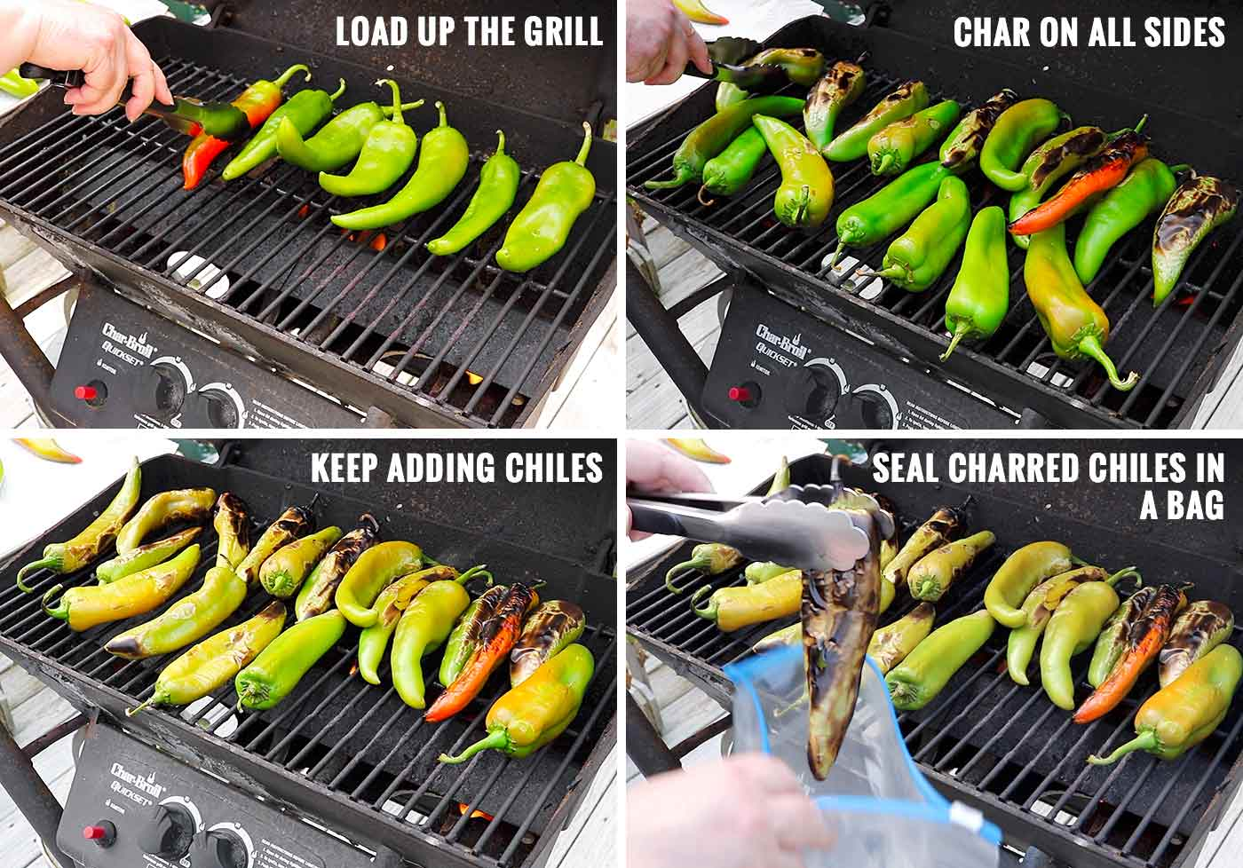 Steps showing how to roast Hatch chiles on the grill
